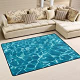 ALAZA Non Slip Area Rug Home Decor, Hipster Turquoise Ocean Wave Durable Floor Mat Living Room Bedroom Carpets Doormats 72 x 48 inches