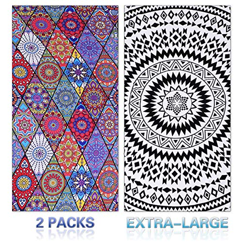 (11 Patterns) Thick Terry Round Beach Towel/Round Beach Blanket/Round Beach Mat Roundie Tapestry/Round Yoga Mat with Fringe Tassels
