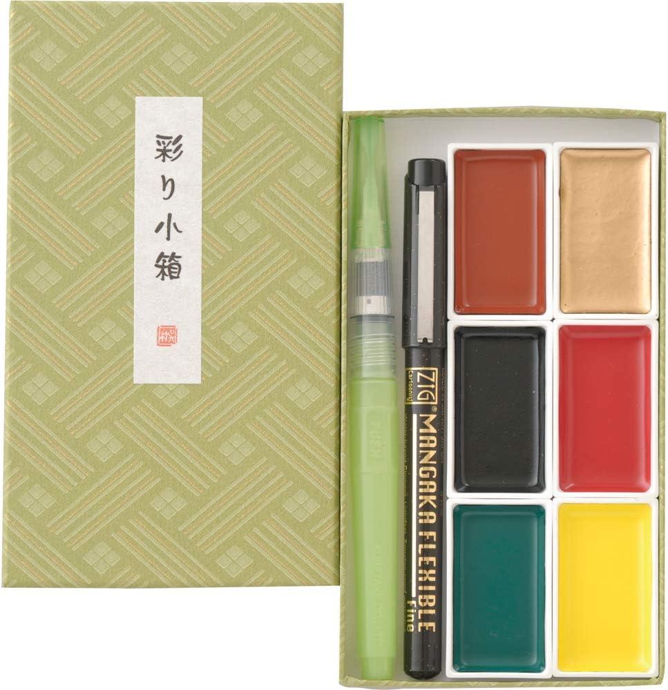 Cheap Kuretake IRODORI KOBAKO Green Gansai 6 Colors Tambi Max 42% OFF Set Handcr