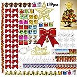 Outgeek Ornamenti per alberi di Natale, 138PCS Ornamenti alberi Natalizi con 50 LED Albero...