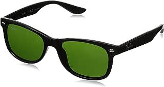 Ray-Ban Junior unisex-child RJ9052S New Wayfarer Kids Sunglasses, Shiny Black/Green, 47 mm