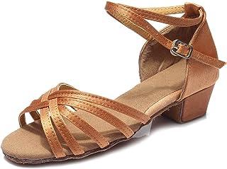 HIPPOSEUS Chaussures de Danse Latine pour Filles et Femmes Chaussures de Danse Salsa de Salle de Bal à Talons Bas, modèle 202