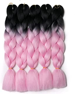 Lady Corner Ombre Braiding Hair 24inch Jumbo Braids High Temperature Fiber Synthetic Hair Extension 5pcs/Lot 100g/pc for Twist Braiding Hair (black/pink)
