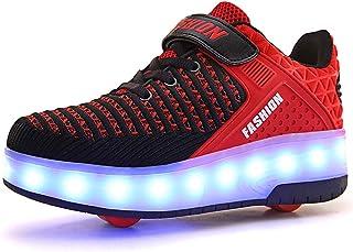 Unisex Niños Niñas LED Luz Flash Zapatos de Roller con USB