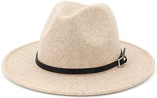 Womens Classic Wool Fedora with Belt Buckle Wide Brim Panama Hat