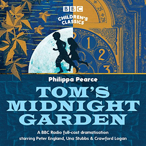 Tom's Midnight Garden (BBC Children's Classics) cover art, a silhouetted boy and girl run past a clock on a stylised background.
