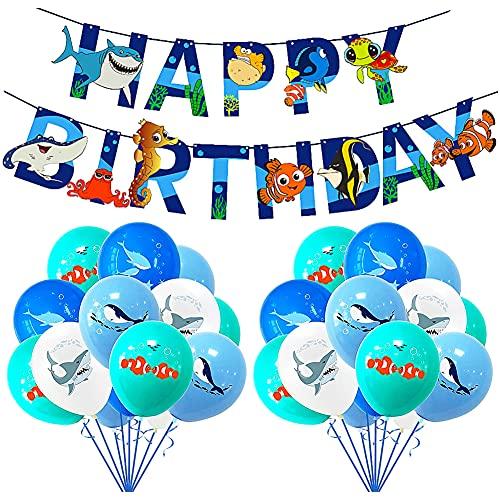 Globos Peces, QSXX 33 PCS Animales Mar Globos Decoración de Fiesta de Cumpleaños de Mar Azul Con Tiburones, Delfines, Ballenas Pescados Globos para Decoración de Fiesta Temática Marina, Acuario