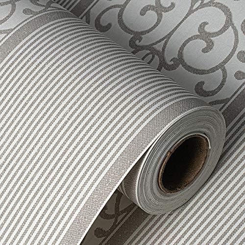 Papel PINtado Autoadhesivo 3D, Resistente Al Agua y Resistente Al Papel de Contacto de Fregado PegatINa de decoración de Pared Extraíble-Gris_53X1000Cm / 20X393IN