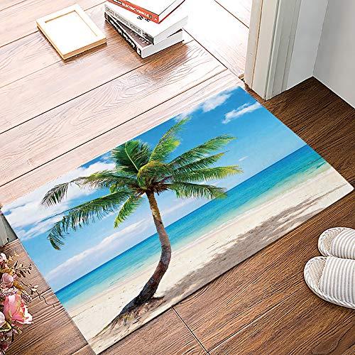 Coconut Palm Tree Summer Beach Hawaii Doormats Entrance Front Door Rug Outdoors/Indoor/Bathroom/Kitchen/Bedroom/Entryway Floor Mats,Non-Slip Rubber,Low-Profile