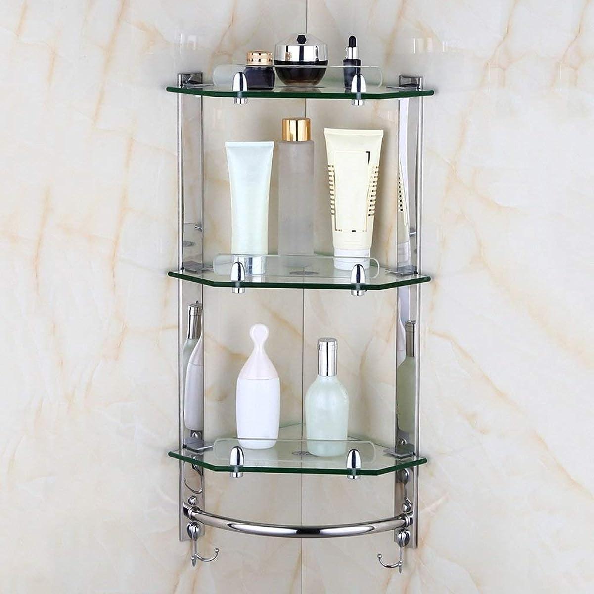 スタイル変装したグリースMYMMZ タオル掛け、透明ガラス製浴室棚、多機能コーナーウォールマウントシルバーステンレススチールタオル掛け (Color : C)
