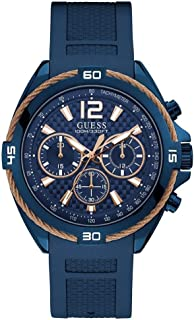 GUESS Mens Quartz Watch, Analog Display and Silicone Strap - W1168G4