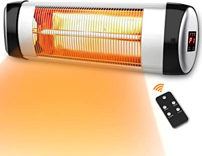 PATIOBOSS Electric Patio Heater Wall-Mounted Outdoor Heater with Remote Control, Indoor/Outdoor Infrared Heater, 1500W Quiet with LED Display, 3 Seconds Instant Warm with 24H Timer, Waterproof IP34