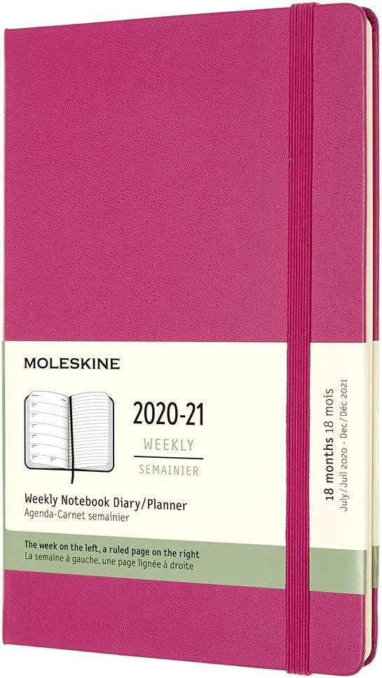 Agenda Moleskine 18 Meses 2020/21 Semanal. Tapa Dura Rosa L