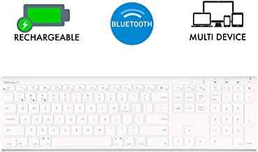 Macally Wireless Bluetooth Keyboard for Mac or PC - Multisync, Connect up to 3 Devices Simultaneously - Rechargeable Mac Wireless Keyboard with 110 Keys, 20 Shortcuts, and Numeric Keypad - White