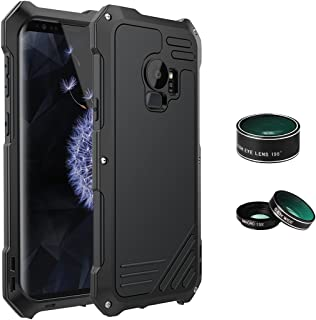 ELEOPTION Camera Lens Kit Cover Case for Samsung Galaxy S9 S9+ with 3 Camera Lens 360° Full Protection Aluminum Lightweight Case Waterproof and Shockproof Cover (Black, Samsung Galaxy S9+)