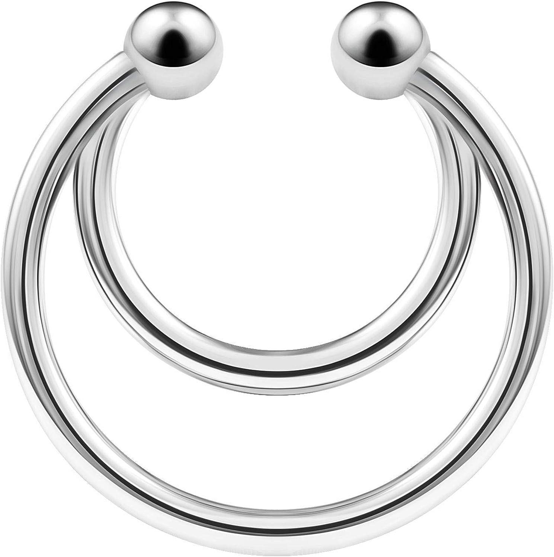 Stainless Steel Fake Septum Hoop Bar Cartilage Ring 16 Gauge 5/16 8mm Earrings Nose Non Piercing Jewelry See More Colors