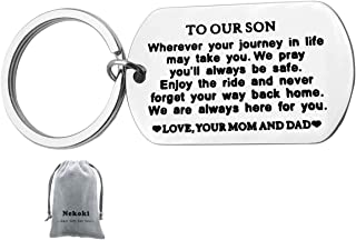 Inspirational Keychain Gifts to My Son Graduation Gift for Boys Teen We Pray You'll Always Be Safe Enjoy the Ride and Never Forget Your Way Back Home Keychain Birthday Gift for Son from Mom Dad