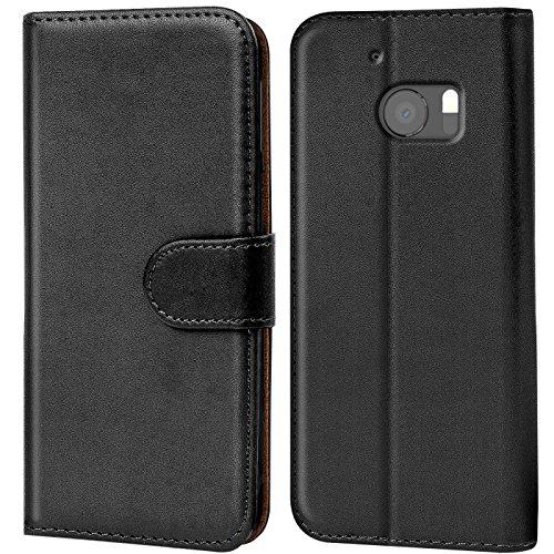 Verco HTC 10 Hülle, Handyhülle für HTC 10 Tasche PU Leder Flip Case Brieftasche - Schwarz