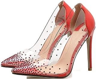 THE LONDON STORE Women's PVC Clear Transparent Pumps Rhinestone Crystal High Heel Bridesmaid Party Clubwear Stilettos