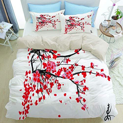 Juego de cama de 3 piezas, Sakura Blossom Jardin de cerisiers Japonais Summertime Vintage, juego de funda nórdica con cremallera de lujo moderno con 2 fundas de almohada Juego de funda de edre