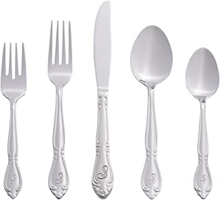 RiverRidge 46-Pc. Monogrammed Flatware, Service for 8, Rose Pattern - S