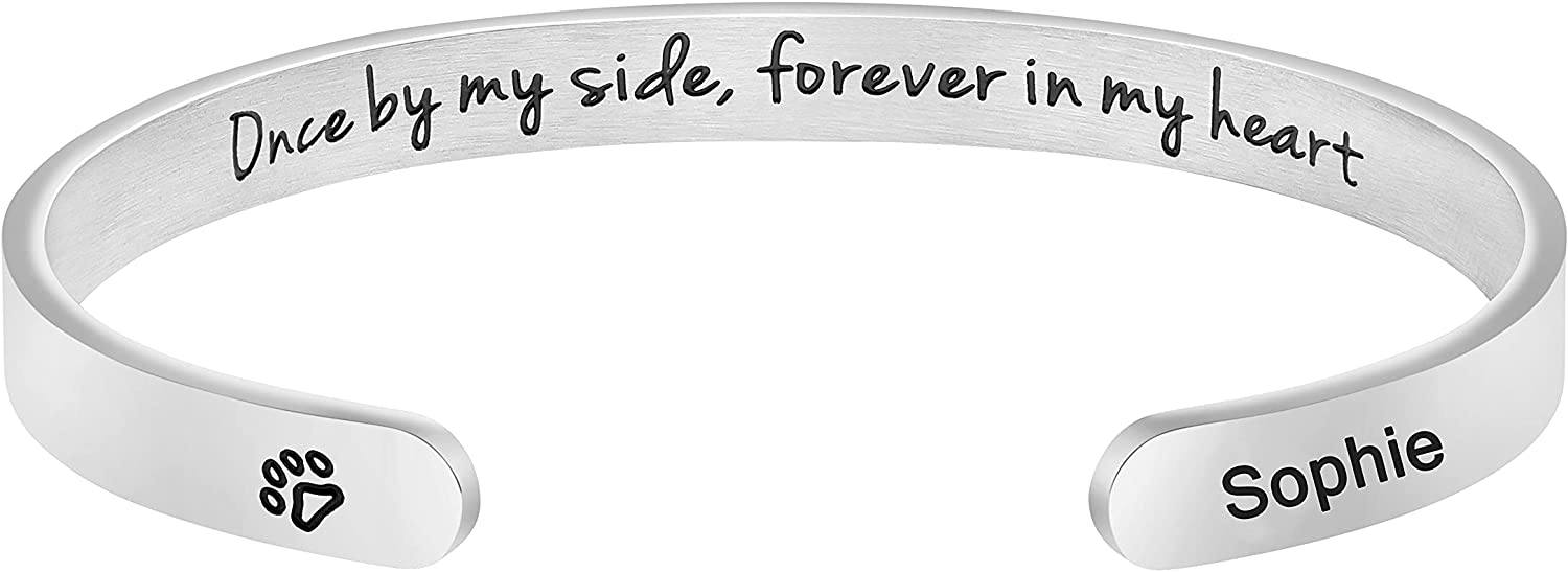 Dog Memorial Bracelet Custom Pet Name Cuff Customized Unique Sympathy Loss Jewelry Gift for Women Girls Engraved Once by My Side Forever in My Heart
