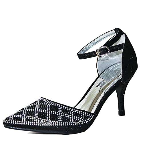 666e9a72d544 Rock on Styles New Ladies Sparkly Diamante Black Silver Ankle Strap Party  Prom Mid Low Heel
