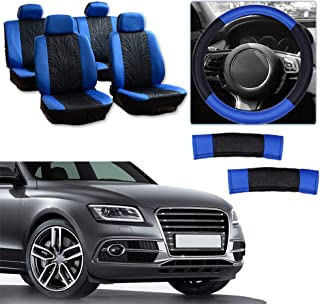 cciyu Universal Seat Cover w/Headrest/Steering Wheel Cover/Shoulder Pads - 100% Breathable Car Seat Cover Washable Auto Covers Replacement fit for Most Cars(Black/Blue)
