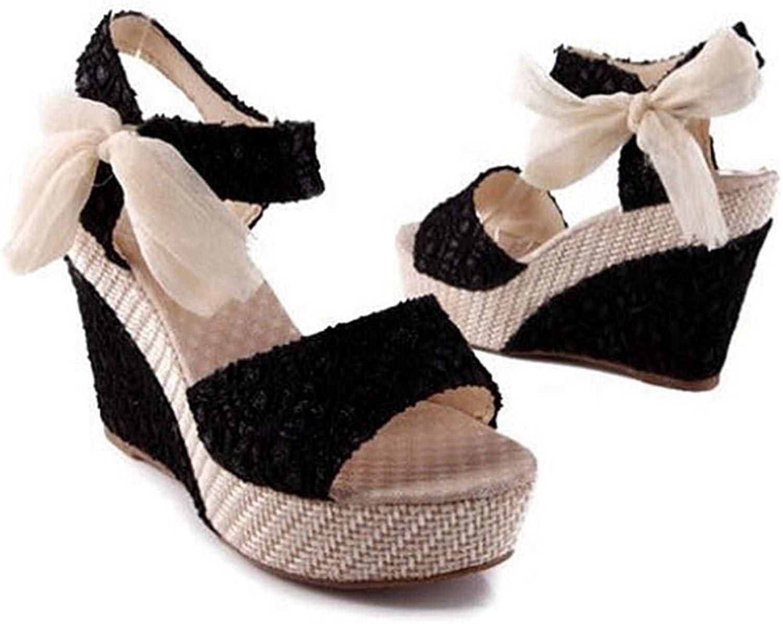 GIY Womens Espadrille Wedge Peep Toe Sandals Comfort Ankle Strap Platform High Heel Summer Sandal