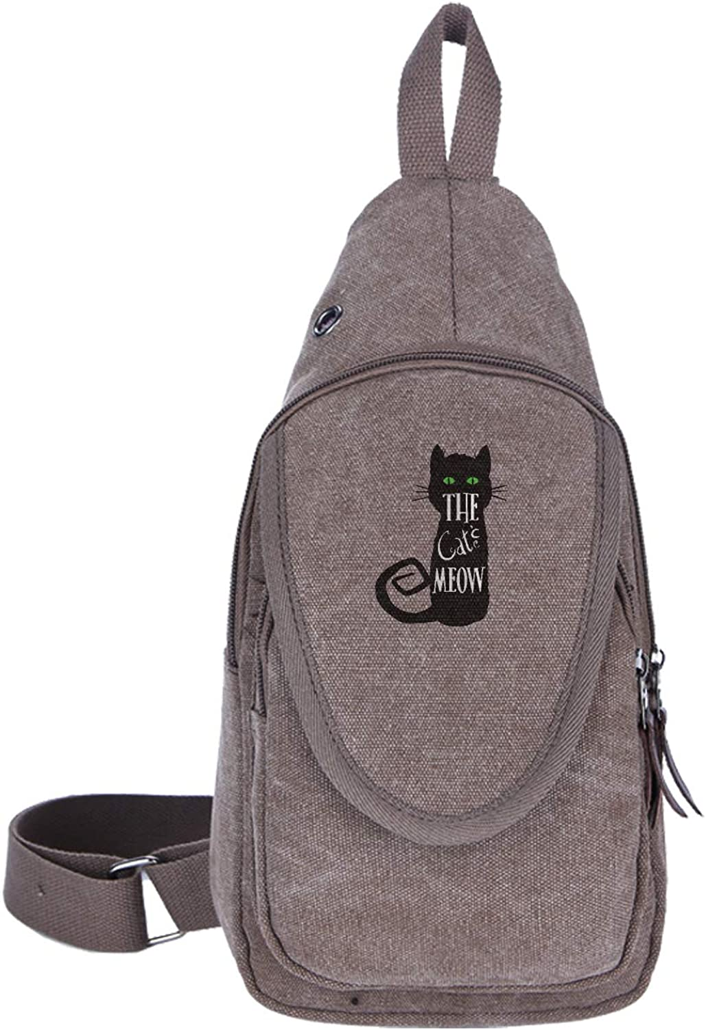 Unisex Canvas Small Backpack Cat Meow Chest Shoulder Bag, Lightweight Crossbody Daypacks for Bicycle Sport Hiking Travel Camping