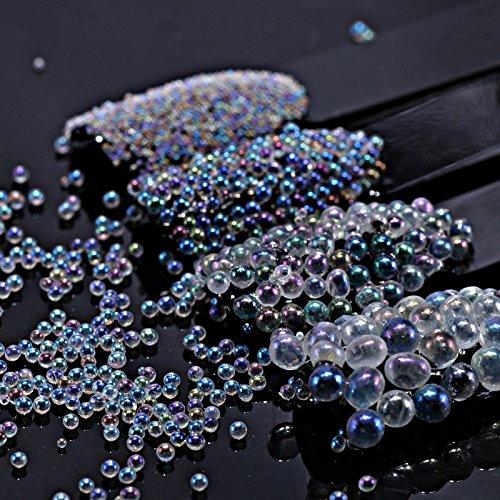 Artlalic Ensemble de 4 flacons de microbilles en cristal AB avec strass pour Nail Art