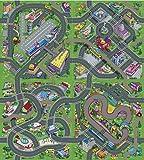 Tapis de Jeu Pour Enfants Circuit de Voitures Dans la Ville 140 x 160 Cm Playset Trafic Tapis De Jeu Avec Routes -Réversible - Paysages Routiers Différents