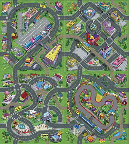 Leomark Childrens' Play Mat, 140 x 160 cm, City Roads 4 in 1: Airport, Downtown, Race Track, Funky Town, Educative Toy for Kids
