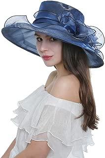 Women Ladies Wide Brim Organza Hat Kentucky Derby Fascinator Cap Tea Party Wedding Hat Summer Sunshade Hat