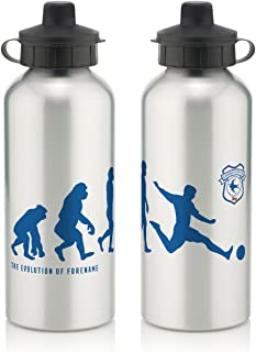 Chelsea Official Personalized FC Evolution Water Bottle with Spring Hook (600ml) - Silver/White (Free Personalization)
