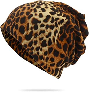 SHENLIJUAN Sleeve hat Fashion Leopard Print Dual-use hat Twisted Cap bib (Color : Brown, Size : One Size)