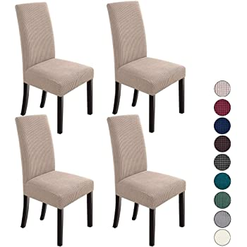 Amazon Com Sure Fit Stretch Pique Short Dining Room Chair Cover Form Fit Polyester Spandex Machine Washable 42 Inch Tall Cream Home Kitchen