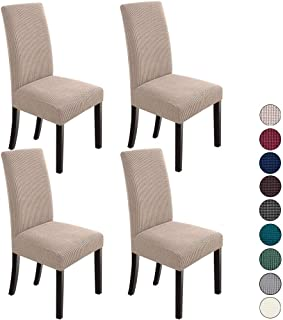 Best NORTHERN BROTHERS Dining Room Chair Slipcovers Dining Chair Covers Parsons Chair Slipcover Stretch Chair Covers for Dining Room Set of 4,Khaki Review