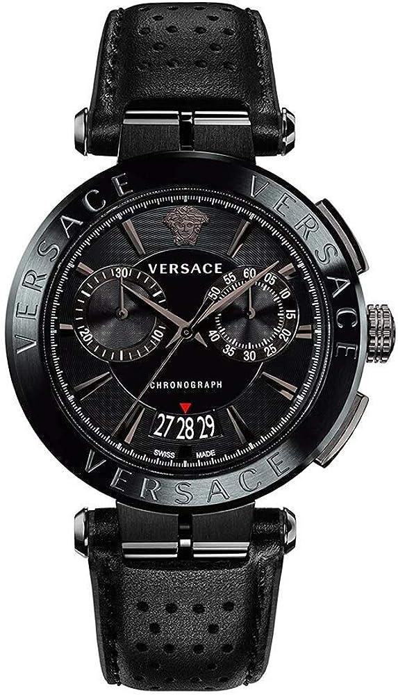Versace aion herrenuhr orologio cronografo da uomo con cinturino in pelle cassa in acciaio inox VE1D005 19