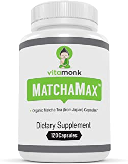 MATCHAMAX™ Organic Japanese Matcha Capsules - VitaMonk™ Supplements for Smooth Zen-Like Energy & Stress Relief with Pills of Pure Matcha Green Tea Powder from Japan - Natural Vegan Matcha Supplement