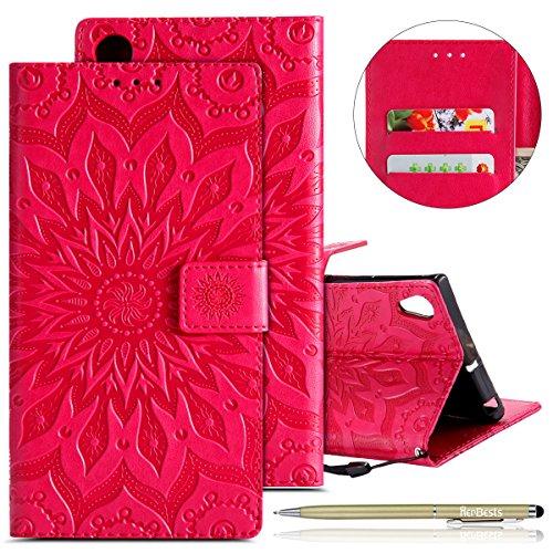 Kompatibel mit Hülle Sony Xperia XA1 Ultra Handyhülle Lederhülle Leder Flip Hülle Handy Schutzhülle Ledertasche Blumen Muster Klapphülle Wallet Cover Handytasche Kartenfach & Ständer,Hot Pink