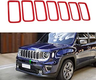 Oubolun Front Grill Insert Mesh Trim for Jeep Renegade 2019 Car Exterior Accessories - Red (Pack of 7)