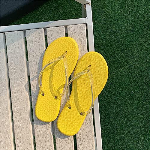 RRGG Chanclas De Playa Mujer, Transparente con Chanclas de Color sólido, Sandalias de Playa para Uso Exterior-Amarillo_39, Antideslizante Chancletas