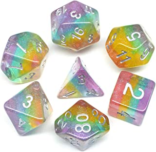 HD Dice DND Dice Set Glitter Rainbow Dice Fit Dungeons and Dragons D&D RPG Role Playing Game Pathfinder MTG Table Game Transparent Polyhedral Dice Set (Sparkly Rainbow)
