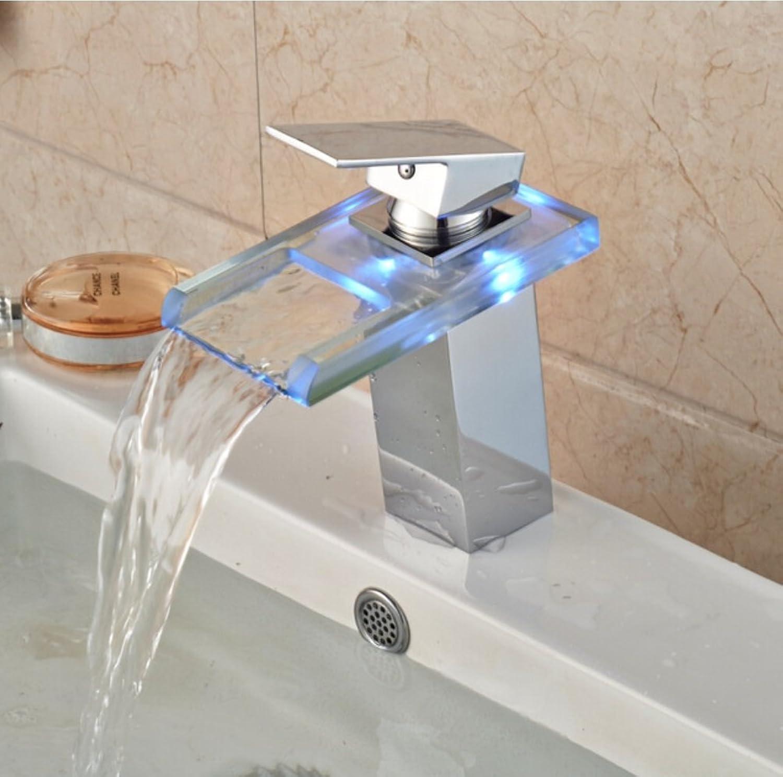 Waschbecken Wasserhahn LED Glas Wasserfall Waschtischarmatur, Glas Wasserhahn für Badezimmer mit Messing Einhand-Warm-und Kaltwasser-Mischer