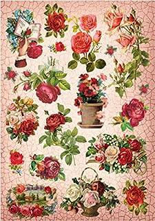 Papel De Arroz Rosas Flores Para Decoupage Scrapbook Y Manualidades 150