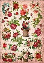 Cadence Papel de Arroz Rosas Sobre Craquelado 30x41 cm.