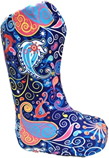 My Recovers Walking Boot Cover for Fracture Boot, Fashion Cover in Bright Blue Paisley, Tall Boot, Made in USA, Medical Fashion (SM)