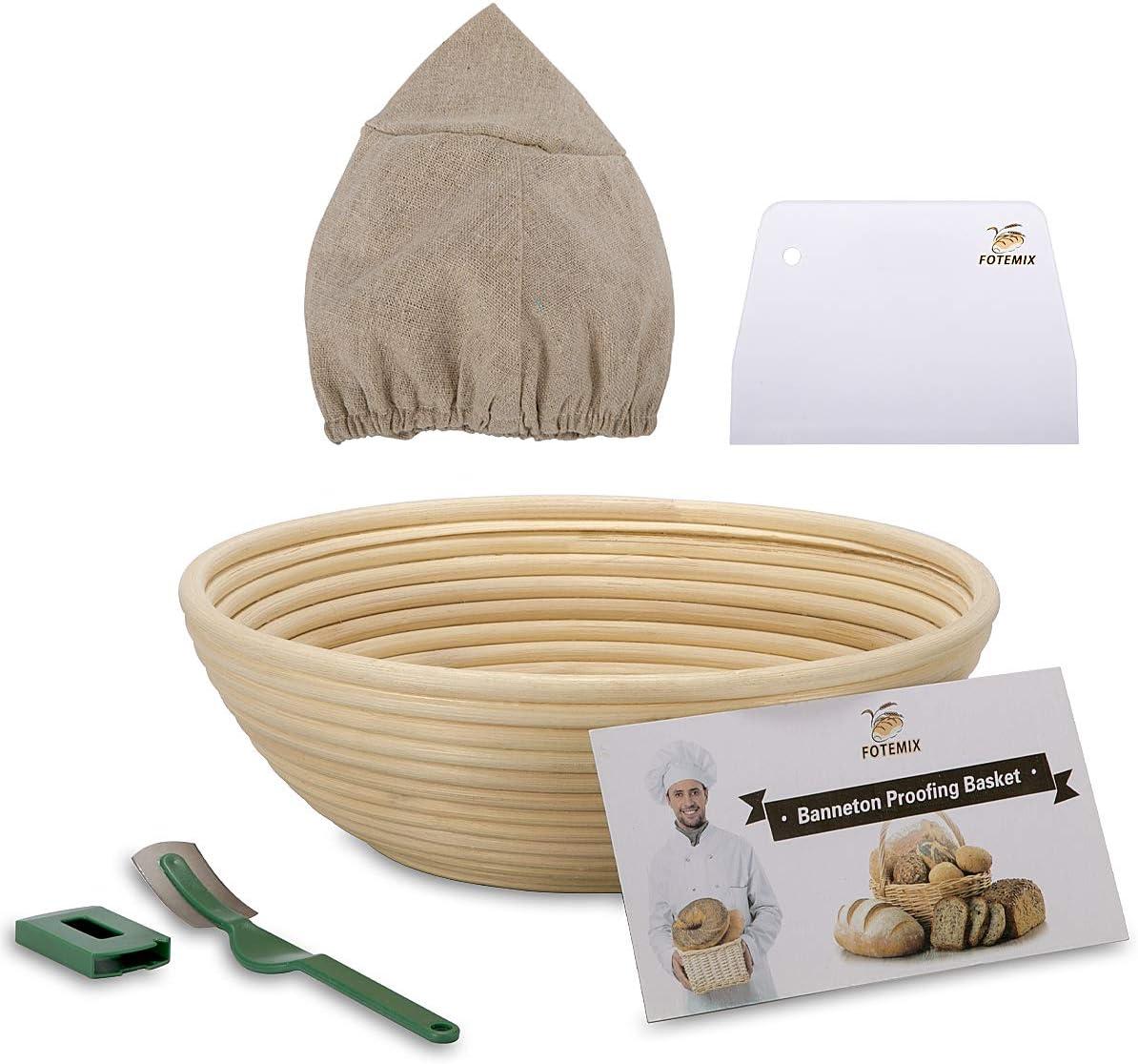 Brotgärkörbchen, 25 cm, Banneton-Proofing Basket + Tucheinlage + Teigschaber +..