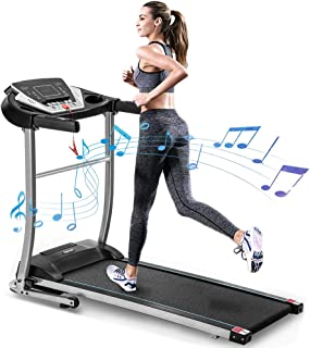 Merax Electric Folding Treadmill Motorized Running and Jogging Machine with Speakers for Home Use, 12 Preset Work Out Programs